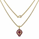 2.84CTW Genuine Glass Filled Ruby & Ruby 14K Yellow Gold Pla