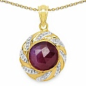 5.31CTW Genuine Pink Sapphire 14K Yellow Gold Plated .925 St
