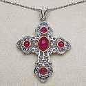 2.64CTW Genuine Glass Filled Ruby & Ruby .925 Sterling Silver