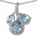 2.48CTW Genuine Blue Topaz .925 Sterling Silver Pendant