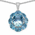 10.05CTW Genuine Blue Topaz .925 Sterling Silver Pendant