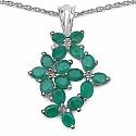 3.40CTW Genuine Emerald .925 Sterling Silver Pendant