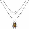 4.75CTW Fancy Shape Genuine Citrine .925 Sterling Silver Pendan