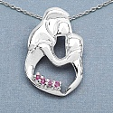 0.20CTW Genuine Ruby .925 Sterling Silver Pendant