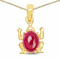 J4K Synthetic Ruby 14K Yellow Gold Plated Brass Frog Shape Kids