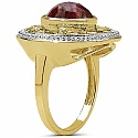 4.10CTW Genuine Dyed Ruby 14K Yellow Gold Plated .925 Sterli