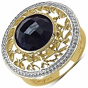 4.10CTW Genuine Dyed Black Sapphire 14K Yellow Gold Plated .