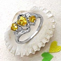 1.83CTW Yellow & White Cubic Zircon .925 Sterling Silver Ring
