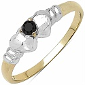 0.06CTW Genuine Black Diamond .925 Sterling Silver Gold Plated