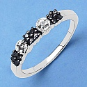 0.15CTW Genuine Black & White Diamond .925 Sterling Silver Ring