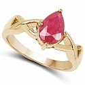 1.30CTW Glass Filled Ruby .925 Sterling Silver 14K Yellow Gold
