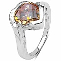 5.85CTW Champagne & White Cubic Zircon .925 Sterling Silver Rin