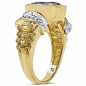 4.25CTW Genuine Amethyst 14K Yellow Gold Plated Brass Ring