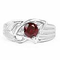 0.85CTW Genuine Garnet .925 Sterling Silver Ring
