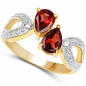 1.73CTW Garnet & White Topaz .925 Sterling Silver Gold Plated R