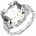 6.32CTW Genuine Green Amethyst & White Diamond .925 Sterling