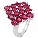 4.16CTW Genuine Glass Filled Ruby .925 Sterling Silver Ring