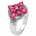 2.09CTW Genuine Glass Filled Ruby & White Diamond .925 Sterling