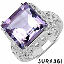 8.47CTW Genuine Amethyst Rhodium Plated Brass Ring