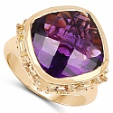 9.10CTW Genuine Amethyst 14K Yellow Gold Plated .925 Sterling S