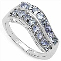 0.96CTW Genuine Tanzanite 16-Stone .925 Sterling Silver Ring