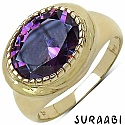 6.30CTW Amethyst Cubic Zirconia 14K Yellow Gold Plated Brass Ring
