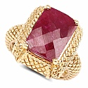 8.97CTW Dyed Ruby .925 Sterling Silver Gold Plated Ring