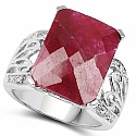 12.74CTW Dyed Ruby & White Topaz .925 Sterling Silver Ring