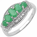 0.87CTW Genuine Emerald .925 Sterling Silver Ring