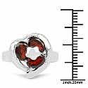 3.00CTW Genuine Garnet .925 Sterling Silver Ring
