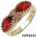 2.88CTW Orange Cubic Zirconia 14K Yellow Gold Plated Brass Ring
