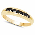 0.35CTW Genuine Black Diamond .925 Sterling Silver Gold Plated
