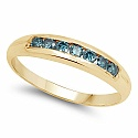 0.35CTW Genuine Blue Diamond .925 Sterling Silver Gold Plated M