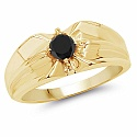 0.37CTW Genuine Black Diamond .925 Sterling Silver Gold Plated
