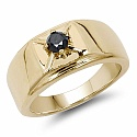 0.25CTW Genuine Black Diamond .925 Sterling Silver Gold Plated
