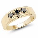 0.33CTW Genuine Black Diamond .925 Sterling Silver Gold Plated