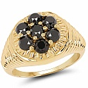 1.40CTW Genuine Black Diamond .925 Sterling Silver Gold Plated