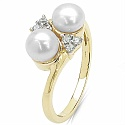 2.50CTW Genuine Pearl & White Cubic Zircon .925 Sterling Silver