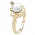 2.00CTW Genuine Pearl & White Cubic Zircon .925 Sterling Silver