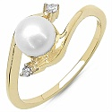 2.05CTW Genuine Pearl & White Cubic Zircon .925 Sterling Silver