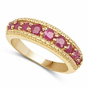 1.00CTW Genuine Ruby 14K Yellow Gold Plated .925 Sterling Silve