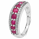 0.90CTW Genuine Ruby .925 Sterling Silver Ring