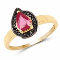 0.90CTW Glass Filled Ruby & Black Spinel.925 Sterling Silver 14