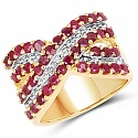 2.00CTW Genuine Ruby Gold Plated .925 Sterling Silver Ring