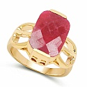 7.50CTW Dyed Ruby .925 Sterling Silver 14K Yellow Gold Plated R