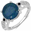 5.00CTW Genuine Opal & Black Spinel .925 Sterling Silver Rin