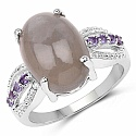 7.04CTW Genuine Grey Moonstone & Amethyst .925 Sterling Silver