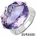 11.28CTW Genuine Amethyst Rhodium Plated Brass Ring