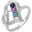 0.38CTW Genuine Emerald, Ruby &amp; Blue Sapphire .925 Sterling 