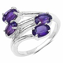 1.80CTW Genuine Amethyst .925 Sterling Silver Ring